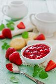 stock photo of strawberry  - strawberry jam and fresh ripe strawberries on the table - JPG