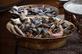 stock photo of clam  - Traditional asian fish market stall full of fresh shell clam seafood - JPG