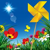 image of windmills  - Meadow flowers and windmill propeller under the summer blue sky - JPG