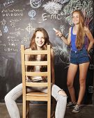 stock photo of classroom  - back to school after summer vacations - JPG