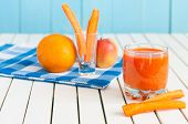 image of light weight  - Healthy homemade carrot juice in glass and fresh carrot - JPG