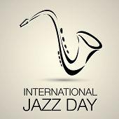 image of saxophones  - International jazz day vector illustration with saxophone - JPG