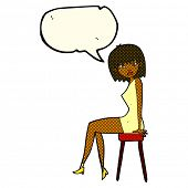 image of stool  - cartoon woman sitting on stool with speech bubble - JPG