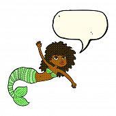 pic of mermaid  - cartoon pretty mermaid waving with speech bubble - JPG
