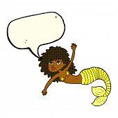 stock photo of mermaid  - cartoon pretty mermaid with speech bubble - JPG