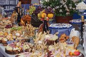 foto of catering  - Catering food with decoration during celebration and reception  - JPG
