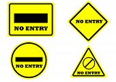 picture of no entry  - sign no entry square rectangle circle triangle yellow color - JPG