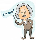 image of albert einstein  - Albert Einstein pointing to Emc2 with Clipping Path - JPG