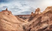 foto of grand canyon  - Charyn grand canyon at overcast sky in Kazakhstan - JPG