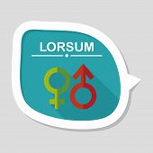 pic of gender  - Gender Symbol Flat Icon With Long Shadow - JPG