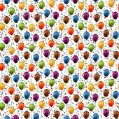 image of congrats  - seamless background with multi colored flying balloons and confetti - JPG