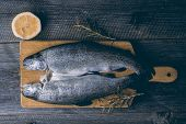pic of brook trout  - Fresh trout with lemon and rosemary - JPG