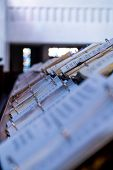 stock photo of chapels  - Hymnals in a catholic chapel of a monastery  - JPG