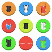 pic of corset  - set of icons with different types of women - JPG