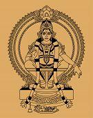 picture of hindu-god  - Hindu God sitting on a throne on a beige background - JPG