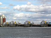 stock photo of safety barrier  - The Thames Barrier in operation - JPG