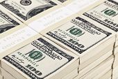 picture of 100 dollars dollar bill american paper money cash stack  - Stacks of one hundred dollar bills Close up shot - JPG