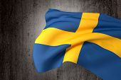 pic of sweden flag  - 3d rendering of a Sweden flag on a dirty background - JPG