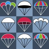 foto of parachute  - Colored Parachute Icons Set Colored Version Vector Illustration - JPG