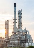 foto of fire-station  - Light of petrochemical industry power station on sunset of Thailand - JPG