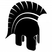 pic of sparta  - Ancient Spartan Helmet Black White Vector Illustration - JPG