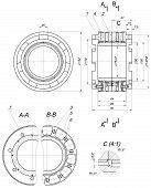 foto of bearings  - Expanded sketch of bearing with numbers and hatching - JPG