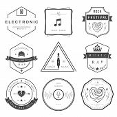 stock photo of rap  - Vector badges rock music rap classical and electronic music - JPG