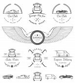 image of auto garage  - Set of vintage car club drift club auto parts and garage labels badges and design elements - JPG