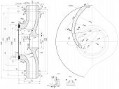 stock photo of degree  - Part wheel of engineering sketch with blades - JPG