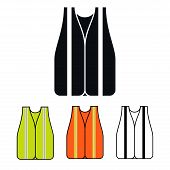 foto of camisole  - Safety Vest Icon Multicolored Set Vector Illustration - JPG