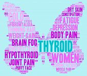 stock photo of fibromyalgia  - Thyroid butterfly shaped word cloud on a blue background - JPG