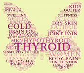 stock photo of fibromyalgia  - Thyroid butterfly shaped word cloud on a yellow background - JPG