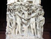 picture of adam eve  - detail of sculptured stone relief of adam and eve in the garden of eden - JPG
