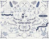 image of christmas wreath  - Set of Vintage Hand Drawn Doodle Floral Design Elements - JPG