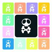 image of skull cross bones  - Skull Icon color set vector illustration  - JPG