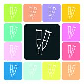stock photo of crippled  - Crutches Icon color set vector illustration  - JPG