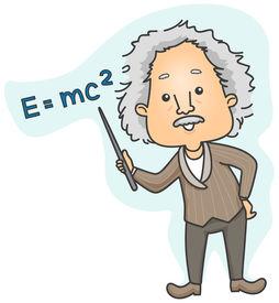 picture of einstein  - Albert Einstein pointing to Emc2 with Clipping Path - JPG