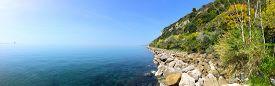 stock photo of naturist  - Stunning rock naturist beach in Trieste Italy - JPG