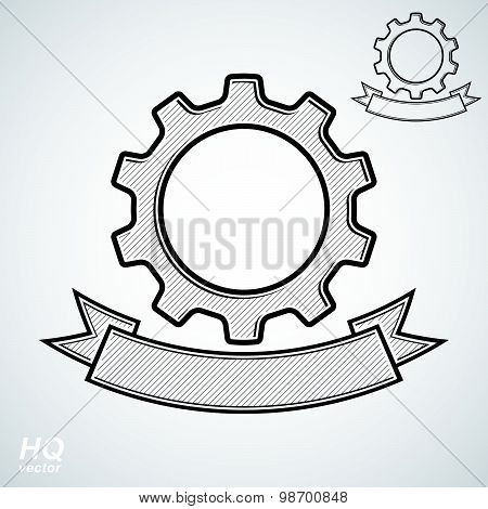 Vector conceptual industry system design element, cog wheels merged, gears with decorative ribbon