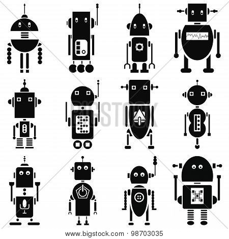 Vintage retro robots  2 icons set in black and white