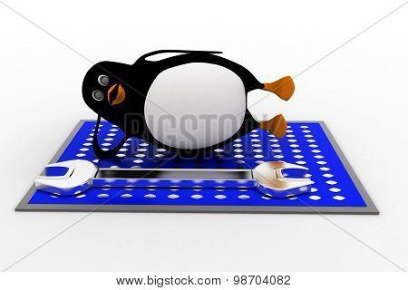 3D Penguin Solar Panel Repair Concept