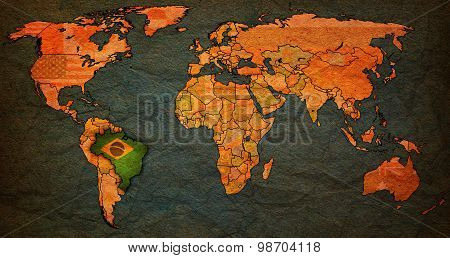Brazil Territory On World Map