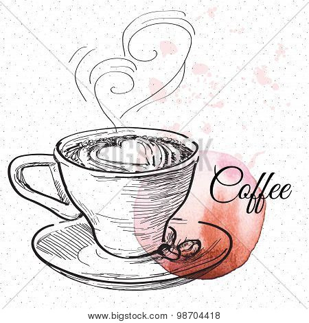 Coffe, vector hand drawing