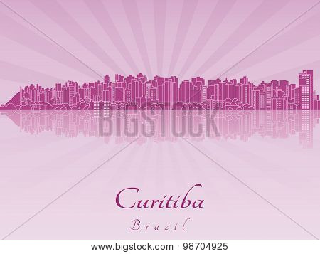 Curitiba Skyline In Purple Radiant Orchid