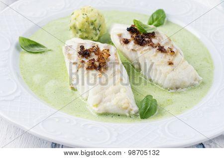 Cod fillet in Basil Champagne Foam