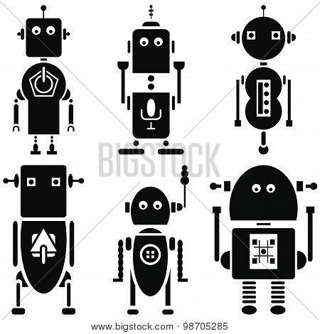 Vintage retro robots 2 icons set in black and white set of 6  ( set B)