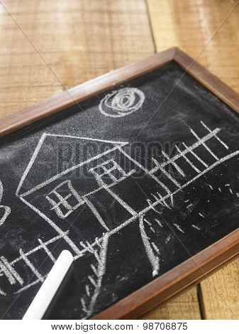 House, child's drawing with chalk