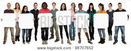 Group Of Young Multi Ethnic People Holding Copyspace For Seven Letter Or Text