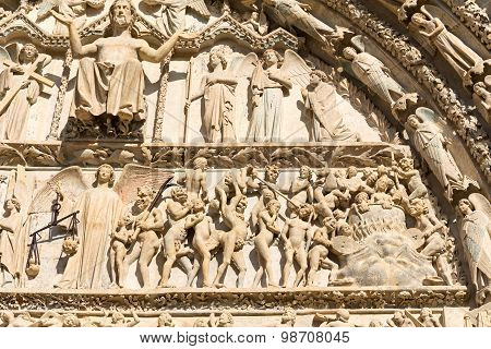 Bourges cathedral entrance detail, France