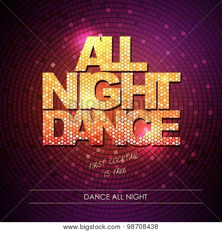 Typography Disco Background. All Night Dance